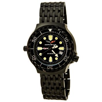 Corvette CR285-MIPB Men's Z06 Collection Black Ion Plated Stainless Steel Black Dial Dive Watch