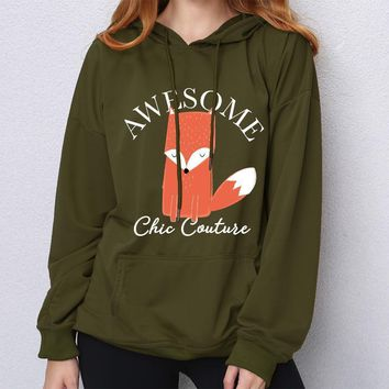 Plus Size Awesome Chic Couture Cute Fox Loose Lighter Weight Pocket Hoodie