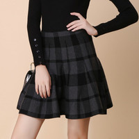 Plaid High Waisted A-line Skirt