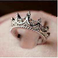 Korea Temperament Elegant Queen Silver Crown Clear Crystals Lady Rings = 1946284740
