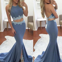 2017 Sexy Halter Two Pieces Evening Dresses Mermaid Appliques Backless Split Prom Gowns Vestidos de fiesta Robe de soiree