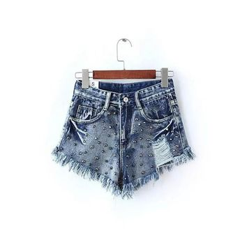 High Waist Denim Shorts Women Fitness Ripped Rivet Tassel Fringe Short Jeans Summer Sexy Micro Mini Shorts Black 2016