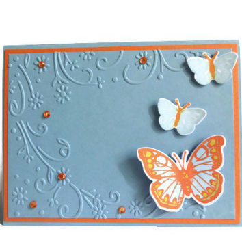 Blank Card Orange and Blue Notecard
