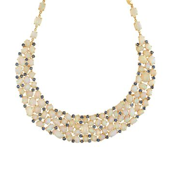 Tresor Collection - Ethiopian Opal and Blue Sapphire Necklace In 18K Yellow Gold