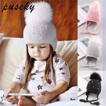 Puseky Baby Winter Hat Fur Pompom Caps bonnet enfant Toddler Boys Girls Knitted Cap Cotton Protect  Ears Hats Warm Kids Beanie