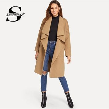 Sheinside Pocket Front Trench Coat Women Waterfall Collar Belted Outerwear 2018 Fall Clothes Office Ladies Camel Wrap Long Coats