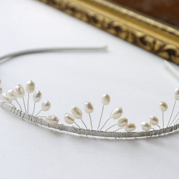 freshwater ivory rice pearl silver tiara alice band headband, fan band design. for bride, wedding