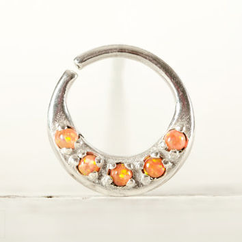 Septum Ring Nose Ring Septum Jewelry Body Orange Opal Stone Piercing  Sterling Silver Indian Style 14g 16g - SE027R SS OP30