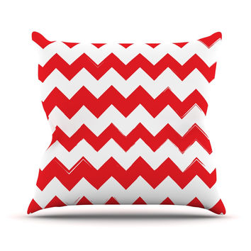 "KESS Original ""Candy Cane Red"" Chevron Throw Pillow"
