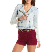 Hot Kiss Light Wash Motorcycle Jacket: Charlotte Russe