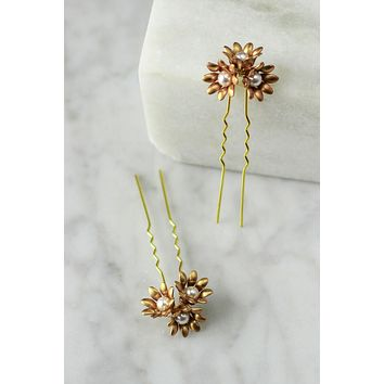 Marguerite Hair Pins - set of 2 - Christine Elizabeth Jewelry