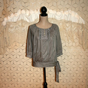 Boho Silk Blouse Bohemian Peasant Top 3/4 Sleeve Gray Black Stripe Romantic Blouson Boho Top Bohemian Clothing Small Medium Women Clothing