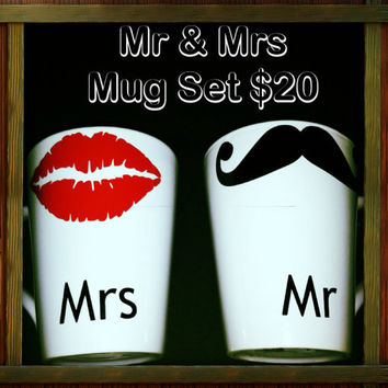 Mr Mrs Mug Set Mustache mugs wedding gift by LeiaLove00 on Etsy
