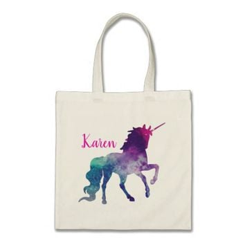 Personalized Purple and Blue Magical Unicorn Tote Bag