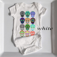 Multi Skull Baby Bodysuit. Funky Rocker Baby clothes. Mini Sugar Skull Graphic Toddler creeper. Trendy Infant Romper. 3, 6, 12, 18 months