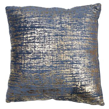 Blue and Gold Velvet Decorative Pillow