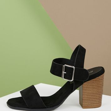 1ae8d5021 Open Toe Side Buckle Stacked Heel Sandals