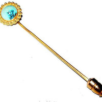 "Victorian Turquoise Stick Pin 14 K Gold Cannetille Filigree Circle Frame 2.5"" Vintage Antique"