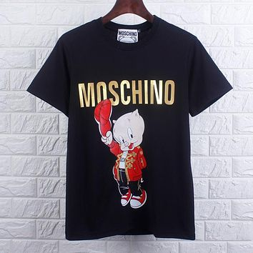 MOSCHINO Summer Popular Women Men Pig Print Round Collar T-Shirt Top Black