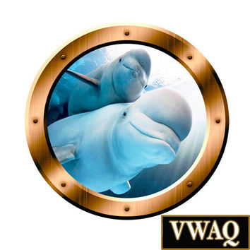 Underwater Wall Art 3D Porthole Beluga Whale Family Wall Art Ocean View 3D Window Bronze Portal Art VWAQ-BP5