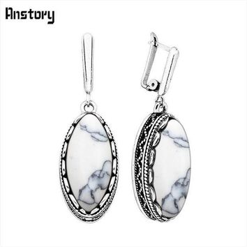 Classic Eye Shape White Blue Stone Earrings For Women Vintage Antique Silver Plated Wedding Party Gift Fashion Jewelry Te151