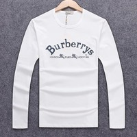 Burberry autumn and winter models men's embroidery letters loose round neck sweater White