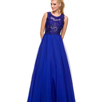 Royal Floral Bodice Ball Gown 2015 Prom Dresses