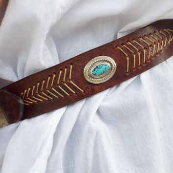 unisex hand made sterling  silver  belt, turquoise stone, flower silver buckle, leather belt, indian look belt, stripe hand made leather