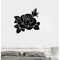 Vinyl Decal Rose Beautiful Flower Living Room Decor Wall Stickers Unique Gift (ig174)