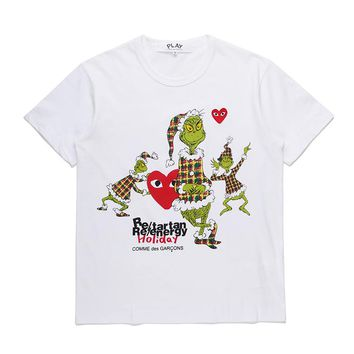 Best Deal Online Men's CDG PLAY COMME DES GARCONS Play White Re-tartan Re-energy Holiday DSM limited edition Fashion T-Shirt