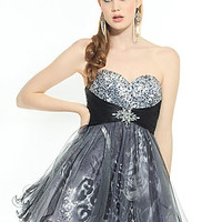 Short Strapless Layered Tulle Print Riva Junior Prom Dress