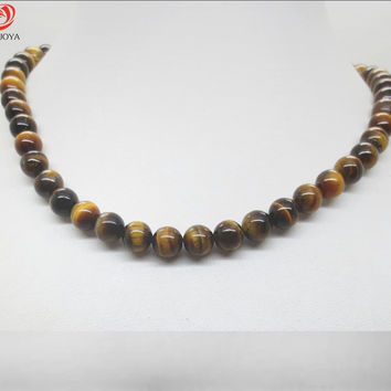 Natural stone necklace round beads Agate Crystal Semi precious stone Pendant Necklace jewelry for women & MenFashion Christmas