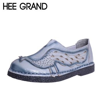 HEE GRAND Woman Loafers Spring Top Soft PU Leather Flats Anti-Slippy Shoes Ethnic Style Women's Shoes Size 40 XWD5225