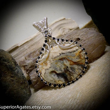 Graveyard Point Plume Agate Gemstone Necklace Pendant Wire Wrapped Stone