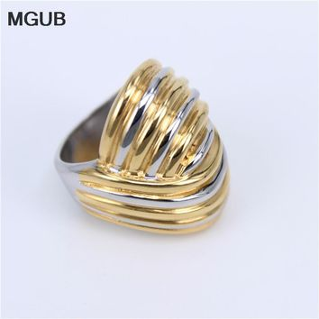 MGUB large Heavyweight 2 in 1 stainless steel Domineering prom Rings smooth Do not fade Suitable for Pretty women accessories HL