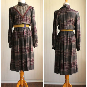 Vintage 80s Boho Tribal Print Dress by Donna Morgan// Office Dress//Winter Autumn Dress// Ikat Dress
