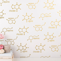 Chemical Structure Wall Decals - Unique Vinyl Wall Decal Set, Gold Wall Decals, Silver Decals, Modern Wall Decor Great for Gifts and More!