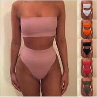 [BIG SALE] Trending Sexy strapless nude two piece high waist bikini off shoulder