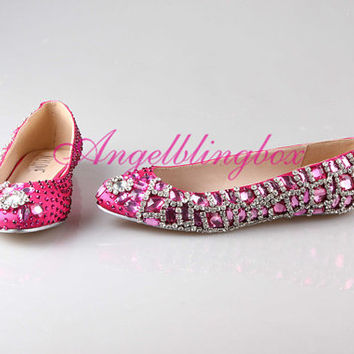 Rose crystal flats, rose wedding shoes, rose bridal shoes, bling rose prom shoes in handmade