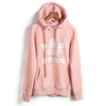 "Womens Pink ""Adidas"" Print Hooded Pullover Tops Sweater Sweatshirts"