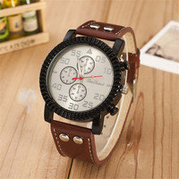 Mens Travel Rivet Leather Watch Boys Casual Sports Watches +  Beautiful Gift Box