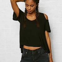Don't Ask Why Fluttery Cold Shoulder T-Shirt, Black