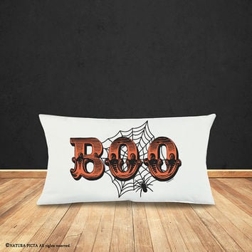 Halloween pillow cover-Halloween decor-Boo pillow cover-Halloween lumbar pillow-rustic pillow-home decor-fall pillow-by NATURA PICTA-NPLP003