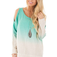 Mint and Oatmeal Ombre Open Shoulder Sweater