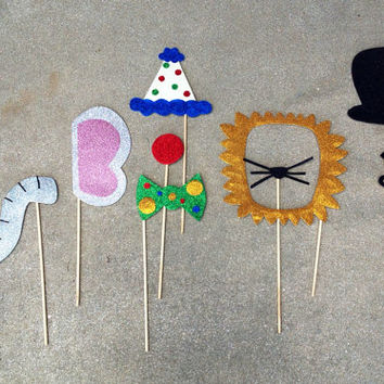 Circus themed glitter photo prop bundle: elephant, ring master, clown, and lion (Handmade)