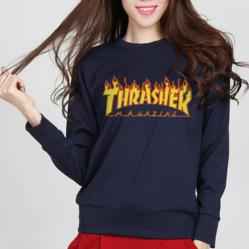 2016 new arrival autumn fleece women thrasher hoodies hip hop sweatshirt skateboard brand fashion high quality thrasher hoodie