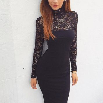 Autumn Winter Lace Dress Women Elegant Party Dresses Long Sleeve white Sexy Club Bandage Bodycon Dress Female Lady KH869827