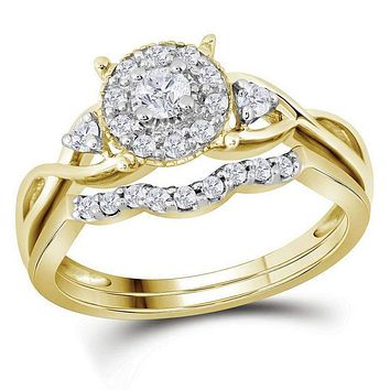 10kt Yellow Gold Women's Round Diamond Halo Twist Bridal Wedding Engagement Ring Band Set 1/3 Cttw - FREE Shipping (US/CAN)