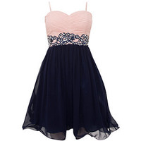 Pink and Navy Jewel Lace Waist Prom Dress