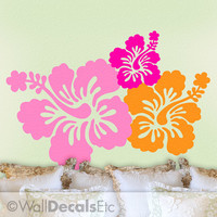 Hibiscus Decals, Set of 3 Hawaiian Tropical Flowers Vinyl Wall Decals, DIY Home Decor